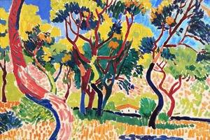слева направо:  Отсутствие бога,часть 4ая, фрагмент, Ракиб Шо, 2008; Деревья в Коллиуре, Андре Дерен, 1905 . Изображение № 6.