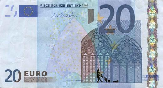 Художник в знак протеста изрисовал банкноты на 3555 евро. Изображение № 20.