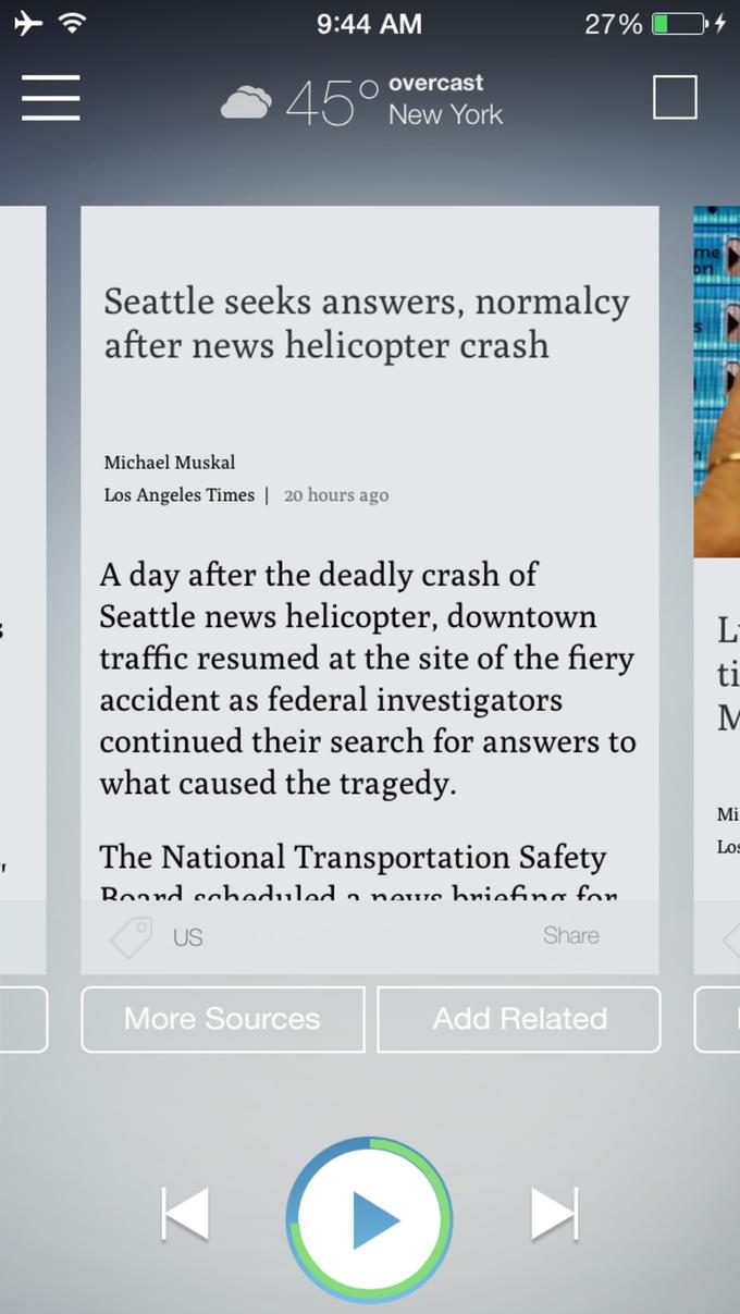 Издатель Chicago Tribune представил мобильный новостной аудиоагрегатор . Изображение № 2.