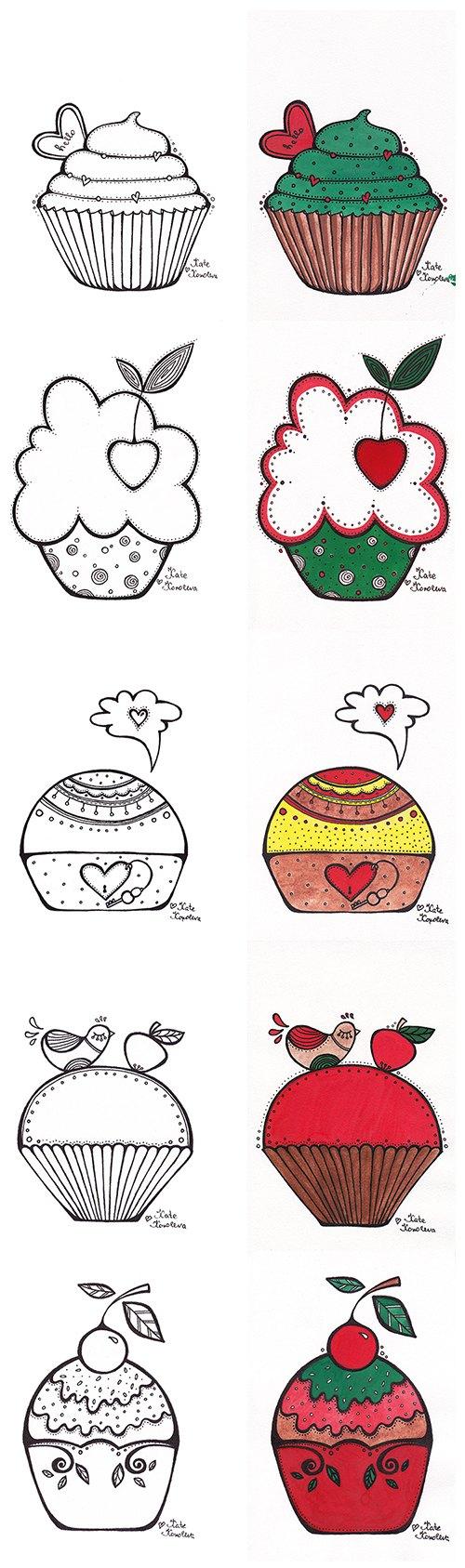 Нарисованные кексы поэтапно