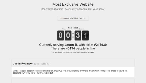 Появился «самый престижный сайт» с доступом по очереди. Изображение № 1.