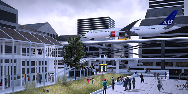 Студент предложил концепт надземного аэропорта в городе. Изображение № 3.
