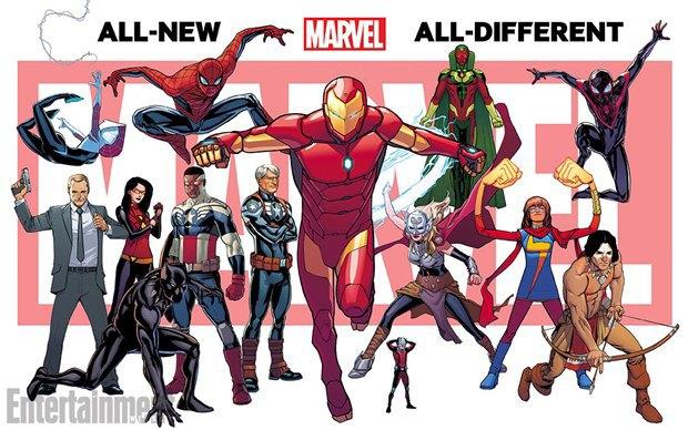 Слева направо: Фил Коулсон, Спайдер-Гвен,  Женщина-паук, Чёрная пантера, Человек-паук (вероятно, Питер Паркер), Капитан Америка (бывший Сокол), Стив Роджерс (бывший Капитан Америка), Железный человек (вероятно, Тони Старк), новая Тор, Человек-муравей, Вижен, Мисс Марвел, Красный волк (или Американский орёл), Человек-паук (Майлз Моралез из бывшей Ultimate-вселенной). Изображение № 1.