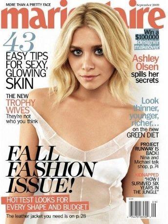 Ashley Olsen наобложке Marie Claire (Сентябрь 2009). Изображение № 1.