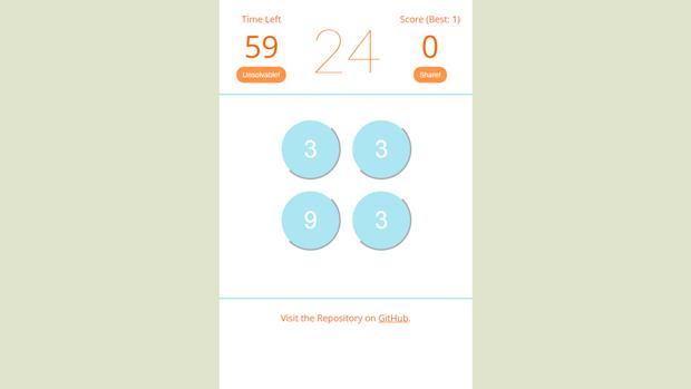 Ссылка дня: получите 24 за минуту с помощью 4 чисел и 4 действий. Изображение № 1.