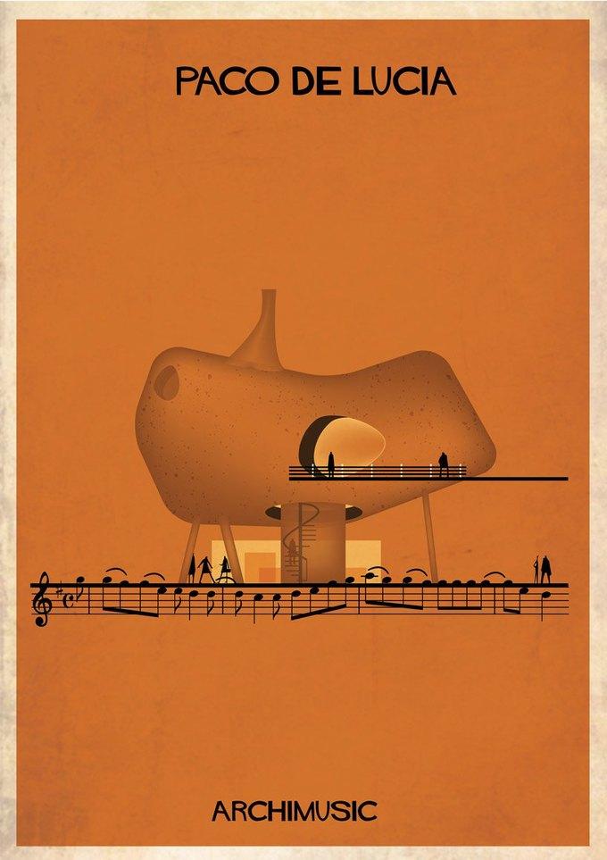 Испанский архитектор превратила песни в здания для новой серии плакатов . Изображение № 27.