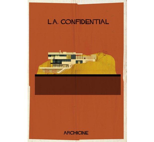 Художник нарисовал архитектурные постеры классических фильмов. Изображение № 15.
