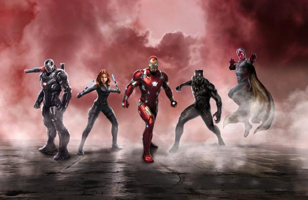 Слева направо: Воитель, Чёрная вдова, Железный человек, Чёрная пантера, Вижн. Изображение № 2.