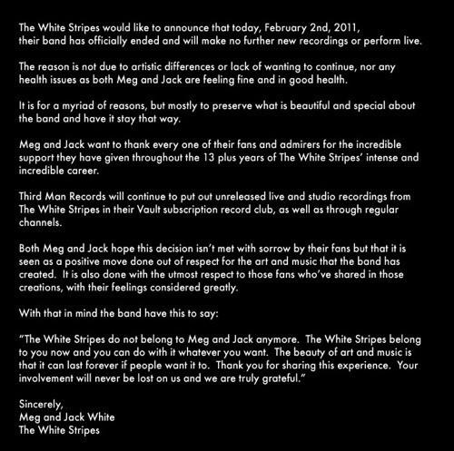 Изображение 1. Конец «Белых Полос»: The White Stripes распались.. Изображение № 1.