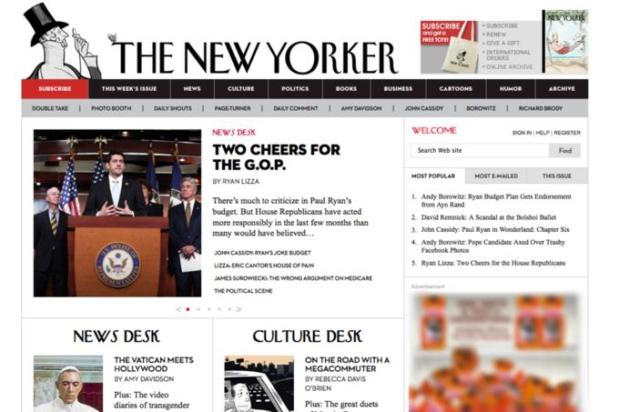 Старая версия сайта The New Yorker. Изображение № 4.