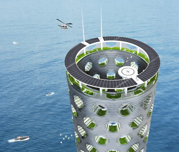 Архитекторы предложили концепт вертикального города на воде. Изображение № 2.