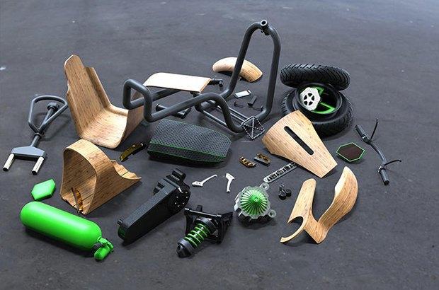 Деревянный скутер Ecomoto работает на воздухе. Изображение № 4.