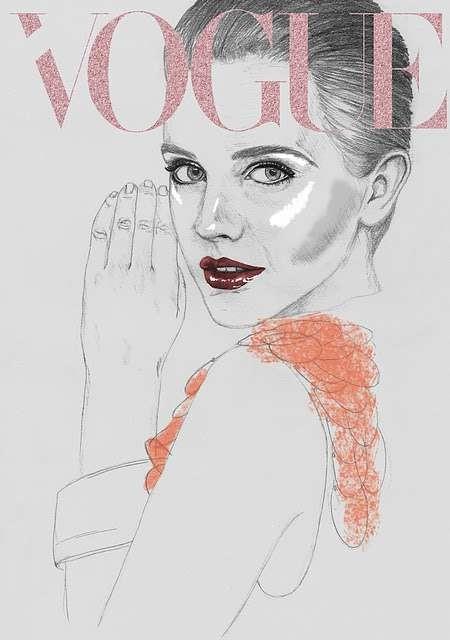 Vogue Covers: знаменитая Hazel Castle нарисовала журнал карандашом. Изображение № 1.
