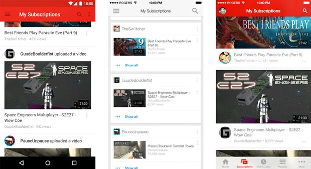 Лента обновлений в приложении YouTube для Android (слева), iPhone (по центру) и для iPhone в версии автора. Изображение № 4.