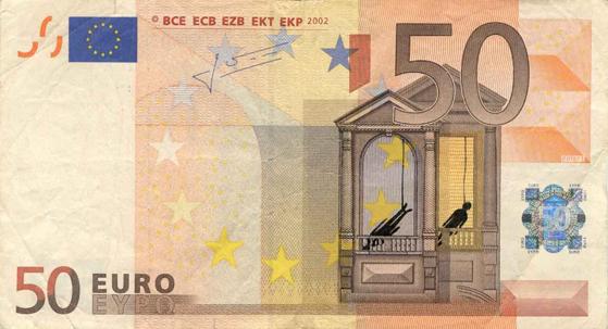Художник в знак протеста изрисовал банкноты на 3555 евро. Изображение № 15.