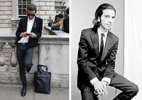 Слева — Имран на Лондонской неделе моды с сумкой Calgary, сделанной по его эскизу дизайнером Биллом Эмбергом. Изображение № 6.