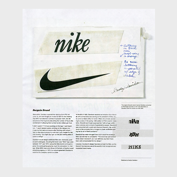 3073419a Как логотип Nike выглядел на стадии концепта. Изображение № 2.