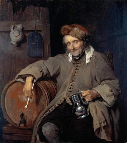 Габриэль Метсю, Старый пьяница. Изображение № 13.