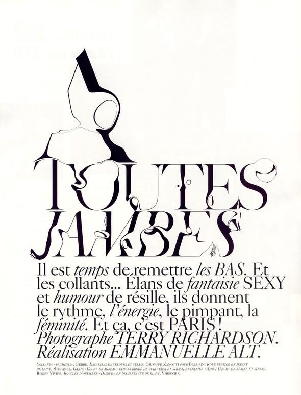 """""""TOUTES JAMBES"""" Vogue Paris JuneJuly 2009. Изображение № 1."""