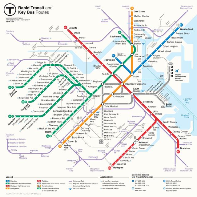 Работа-победитель конкурса на редизайн схемы движения общественного транспорта Массачусетса. Изображение № 1.