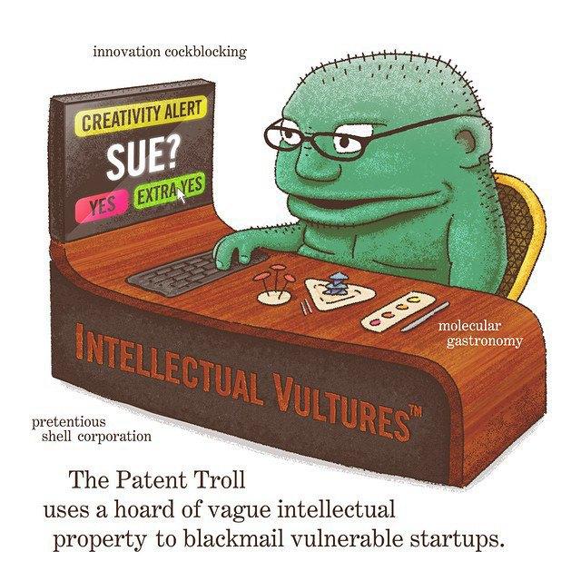 «Патентный тролль использует запасы туманной интеллектуальной собственности, чтобы шантажировать уязвимые стартапы». Изображение № 11.