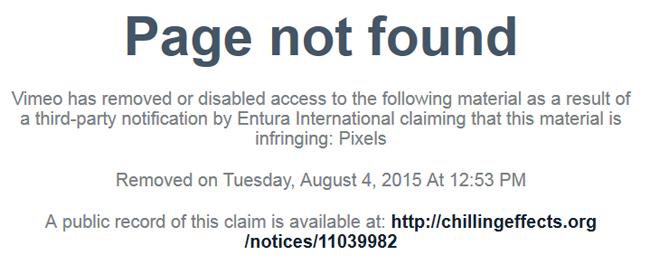 У Vimeo потребовали удалить все видео с названием «Пиксели» . Изображение № 1.
