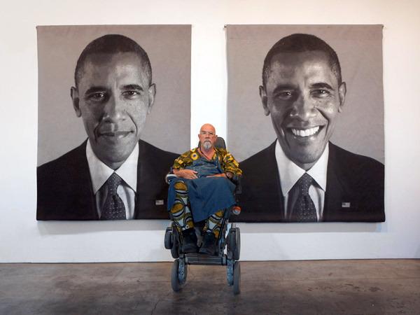Чак Клоуз и его ковры с портретами Барака Обамы. Изображение № 1.