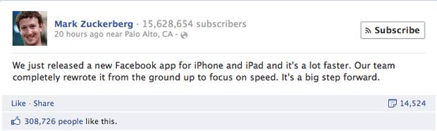 Facebook обновил приложение для iOS. Изображение № 1.