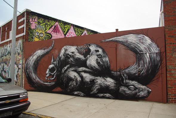 Животный стрит-арт от бельгийского граффитчика ROA. Изображение № 33.