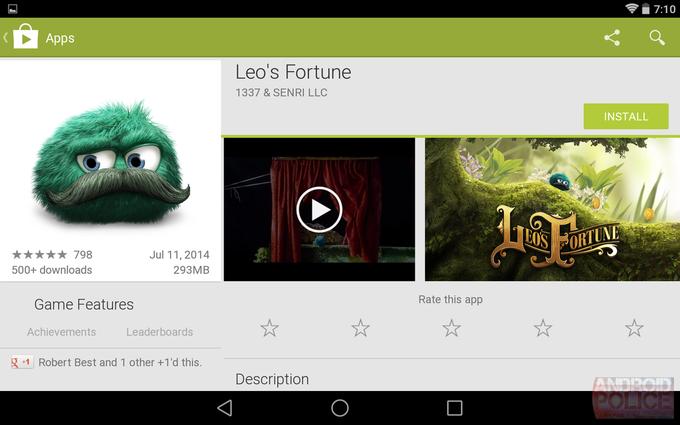 Текущий интерфейс Google Play для планшетов. Изображение № 3.