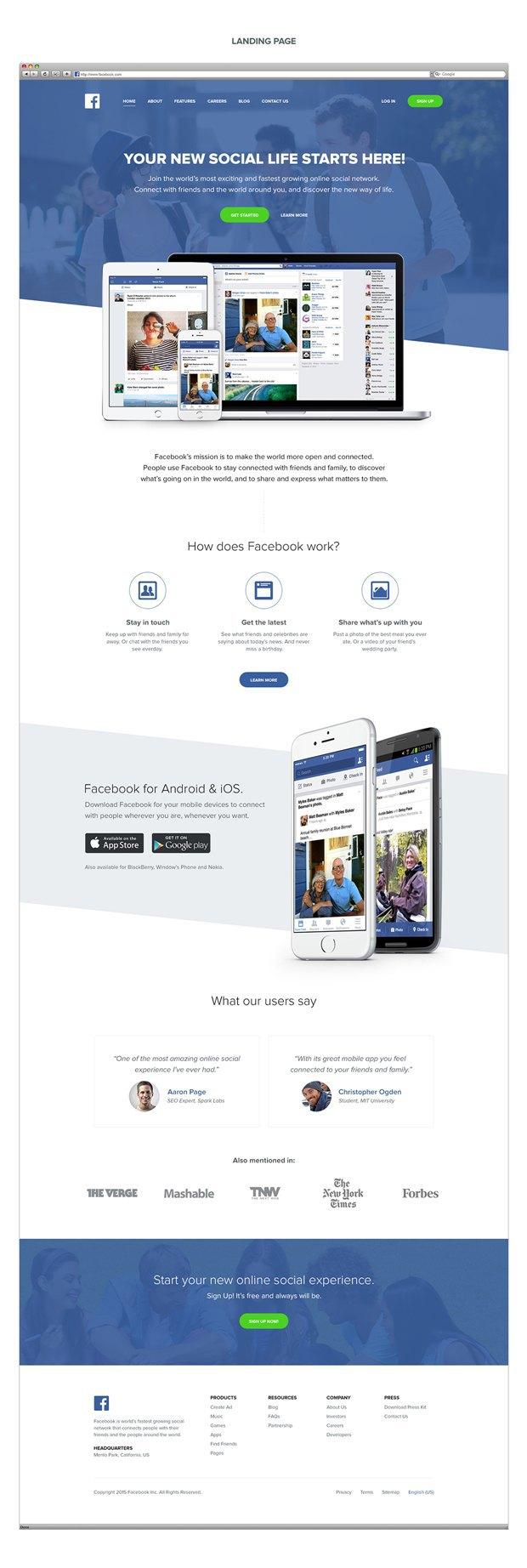 Главную Facebook представили лендингом стартапа 2015 года. Изображение № 3.