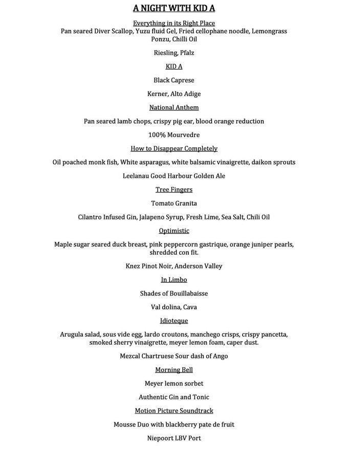 Шеф-повар приготовил блюда на основе песен Radiohead . Изображение № 1.