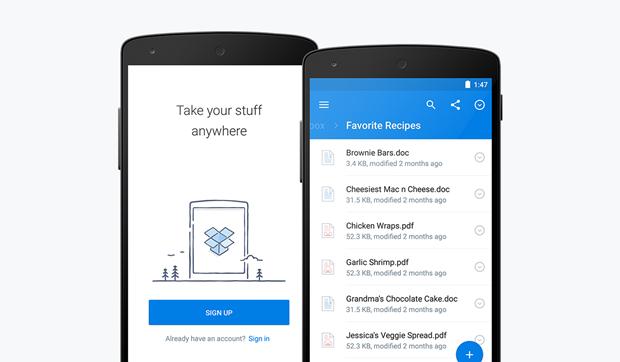 Dropbox показал приложение вматериальном дизайне . Изображение № 1.