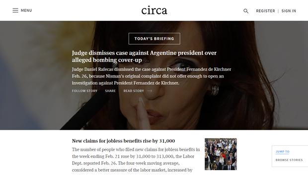 Новостной сервис Circa News запустился в вебе. Изображение № 1.