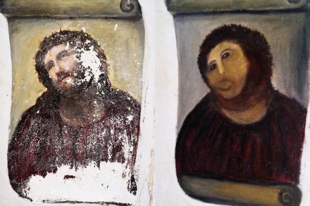 Результаты работы над оригинальной фреской: слева — времени, справа — Сесилии Хименес. Изображение № 2.