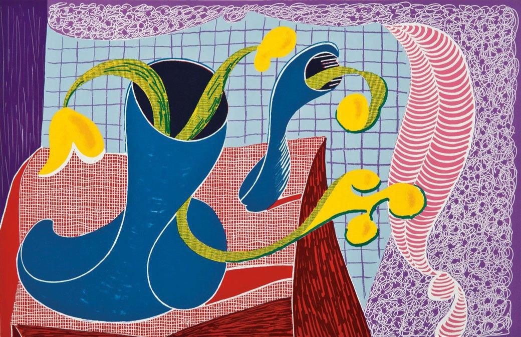 Дэвид Хокни, Четыре цветка в натюрморте, 1990. Изображение № 3.