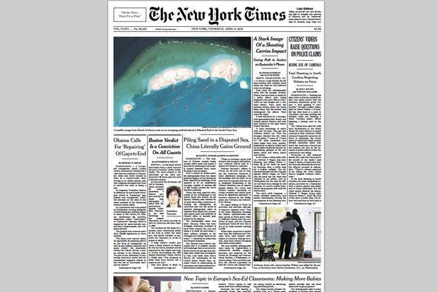 Первая полоса The New Times за 9 апреля. Изображение № 2.