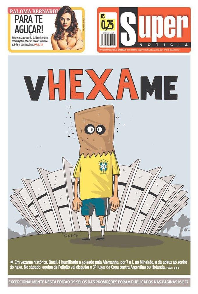 """Super Noticia: «Позор» (с включением слова """"Hexa"""" — шестая победа Бразилии в чемпионатах мира по футболу). Изображение № 7."""