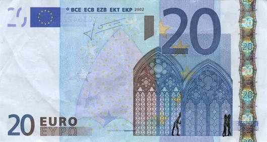 Художник в знак протеста изрисовал банкноты на 3555 евро. Изображение № 31.