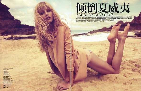 Anna Selezneva in Vogue China July 2009 by Camilla Akra. Изображение № 3.