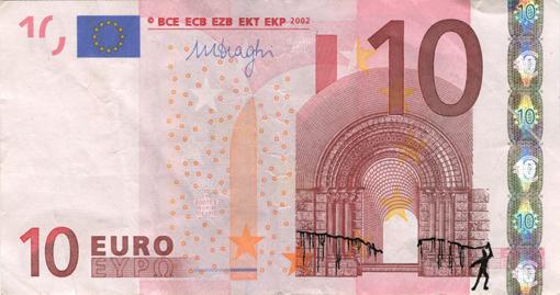 Художник в знак протеста изрисовал банкноты на 3555 евро. Изображение № 51.