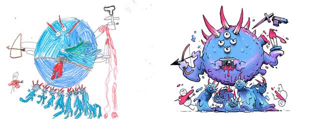 Художники создали монстров наоснове детских рисунков. Изображение № 45.