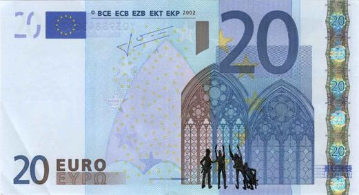 Художник в знак протеста изрисовал банкноты на 3555 евро. Изображение № 3.