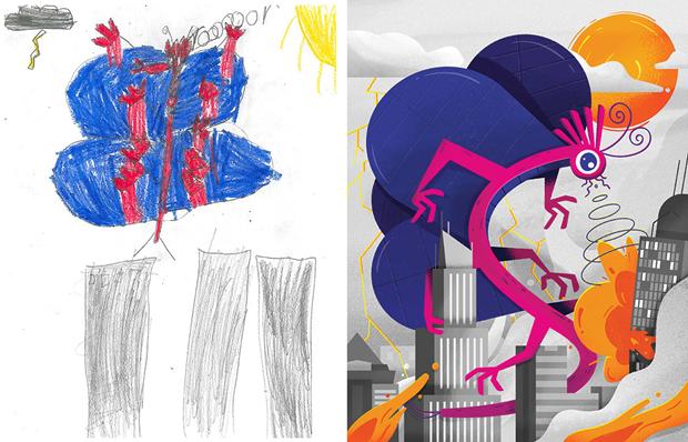 Художники создали монстров наоснове детских рисунков. Изображение № 41.