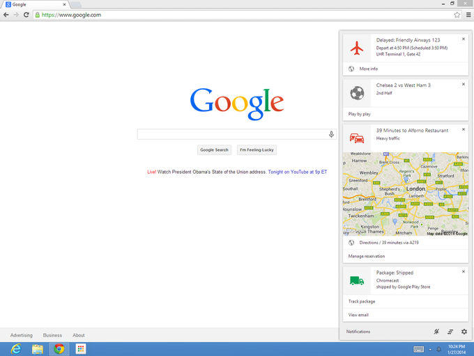 Сервис Google Now появится на ноутбуках . Изображение № 1.