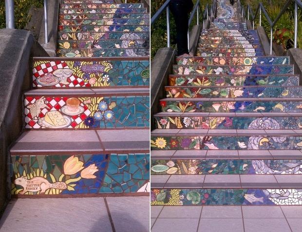 Разноцветная мозаика на лестнице в Сан-Франциско. . Изображение № 1.