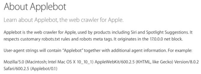 Apple подтвердила существование поискового робота Applebot . Изображение № 1.