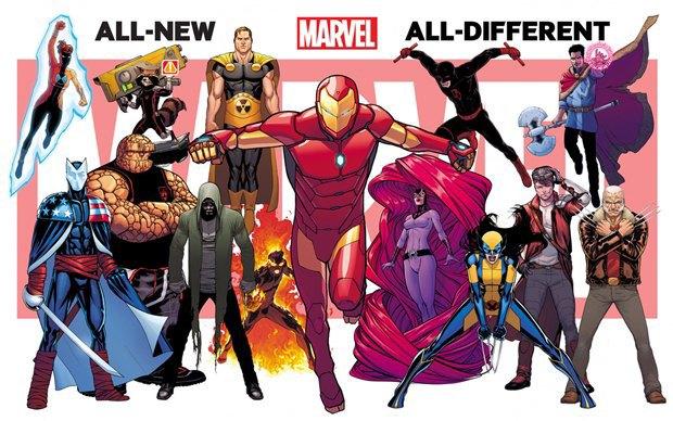 Слева направо: Спектрум, Гражданин V,  Существо, Реактивный енот, Карнак, Гиперион, Инферно (или Человек-факел), Медуза, Сорвиголова из Царства теней, Железный человек (вероятно, Тони Старк), X-23 в костюме Росомахи, Звёздный лорд, Доктор Стрэндж (возможно, с топором Тора) и старый Джеймс «Росомаха» Хоулетт. Изображение № 1.