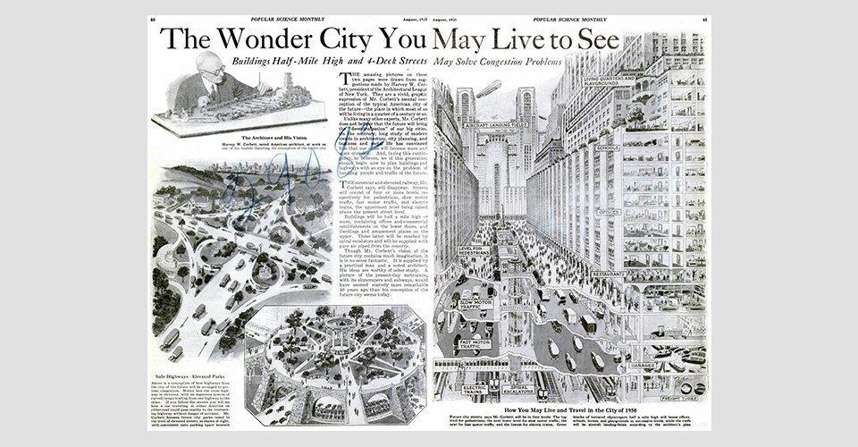 Как в XX веке представляли себе города будущего. Изображение № 2.