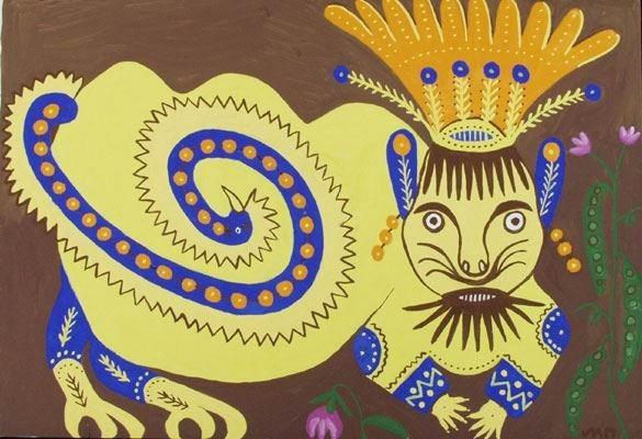 Львы с человеческим лицом. Мария Приймаченко. Изображение № 2.